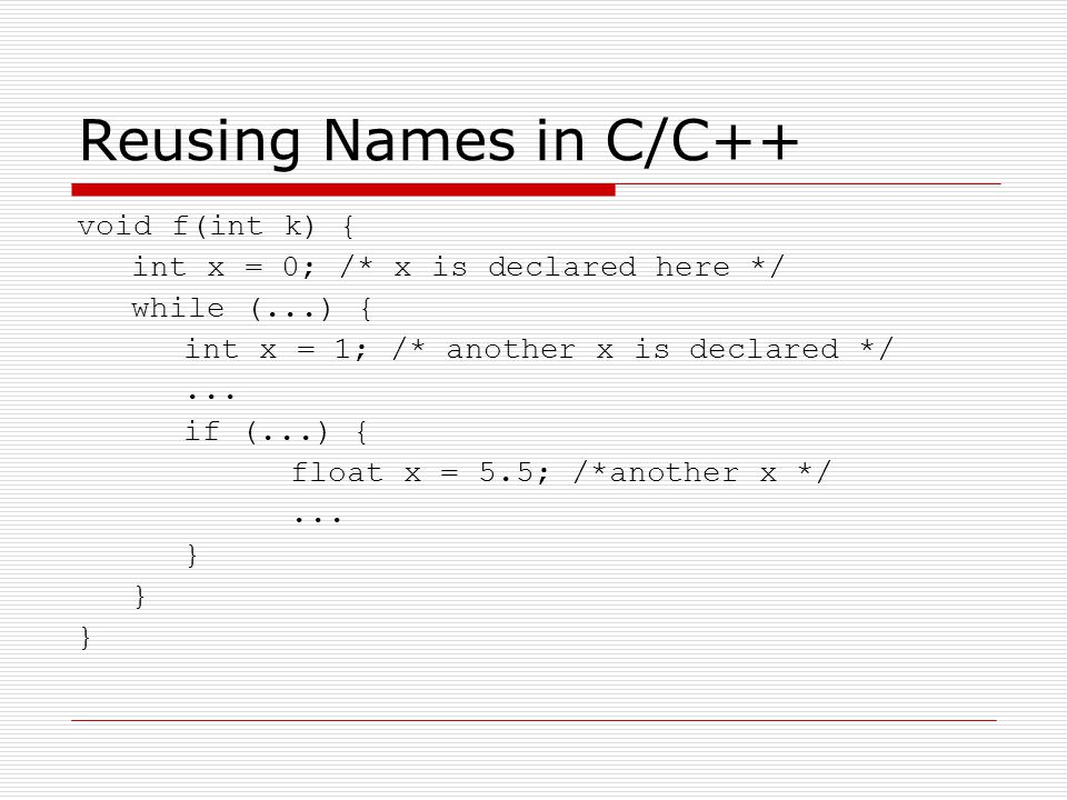 Reusing Names in C/C++ void f(int k) {