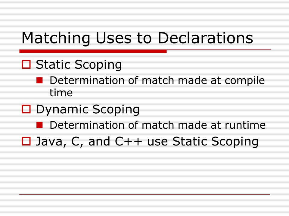 Matching Uses to Declarations