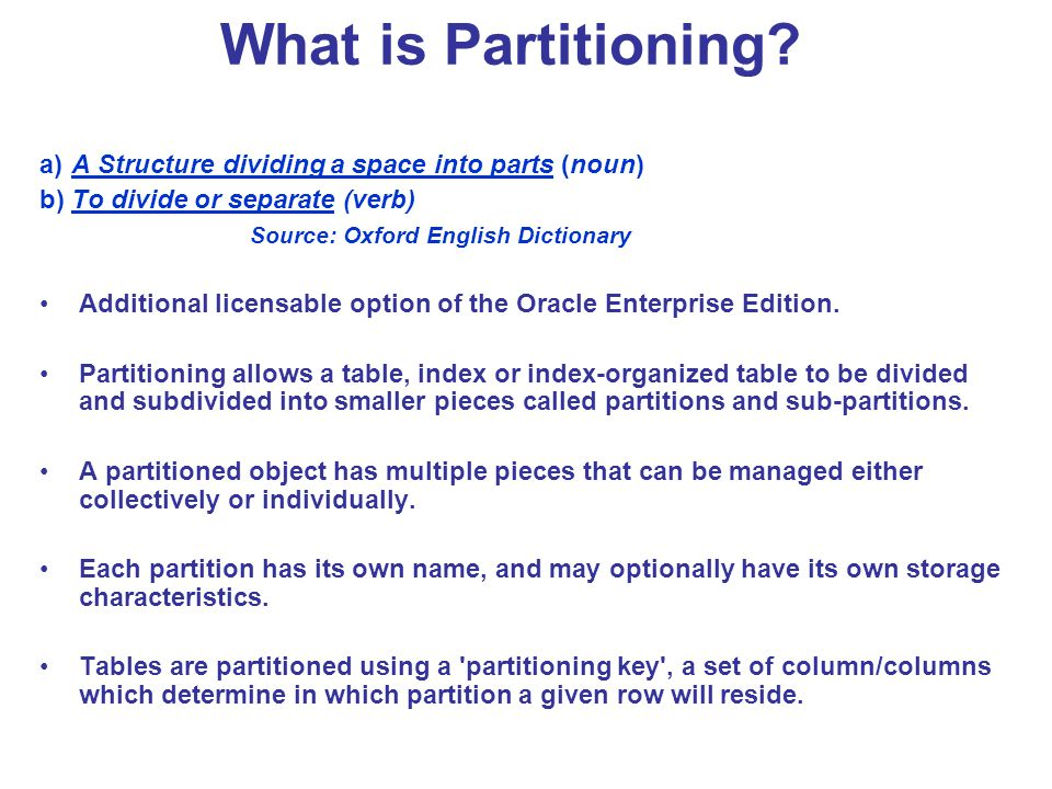What is Partitioning a) A Structure dividing a space into parts (noun) b) To divide or separate (verb)