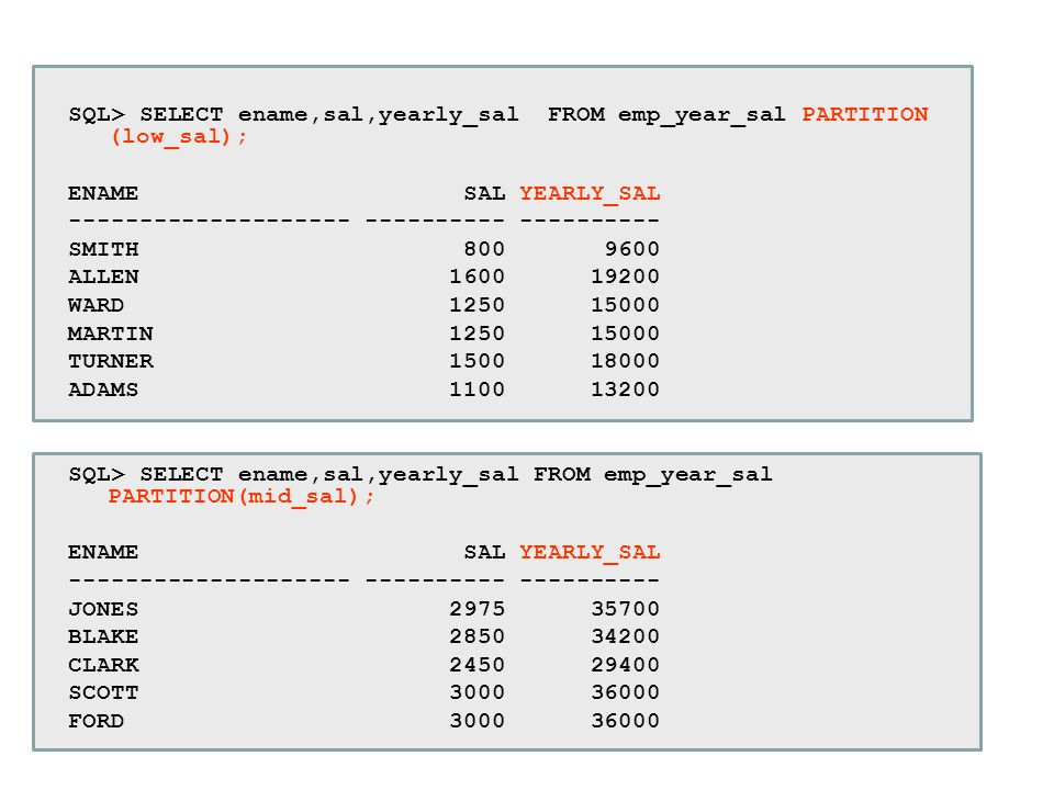 SQL> SELECT ename,sal,yearly_sal FROM emp_year_sal PARTITION (low_sal);