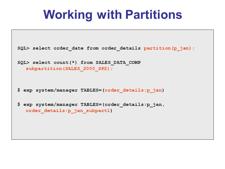 Working with Partitions