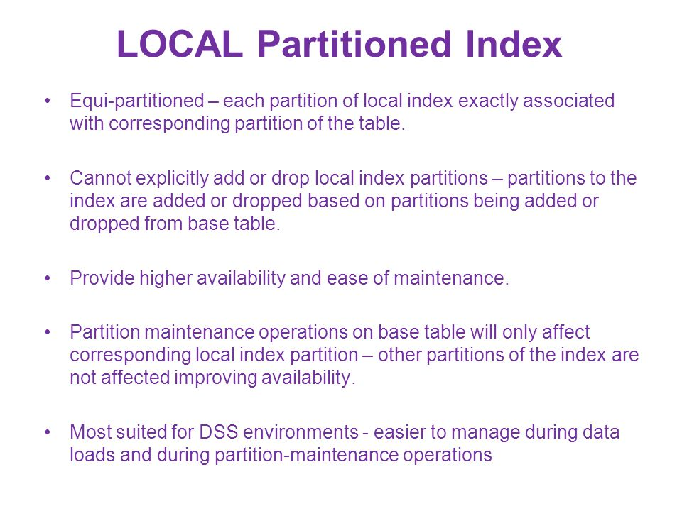 LOCAL Partitioned Index