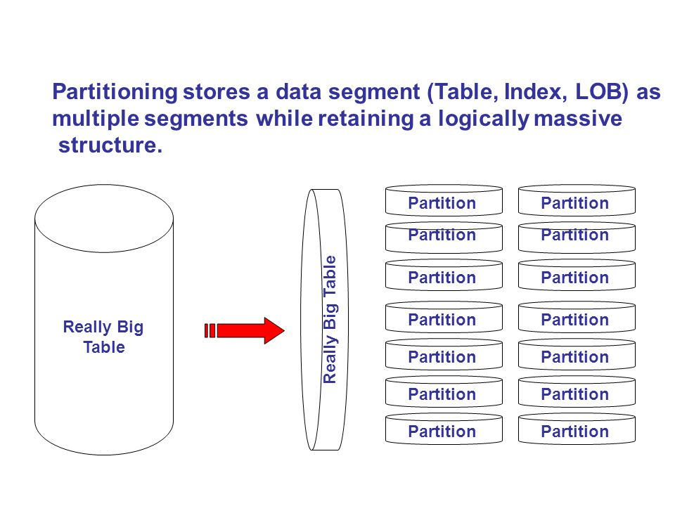 Partitioning stores a data segment (Table, Index, LOB) as