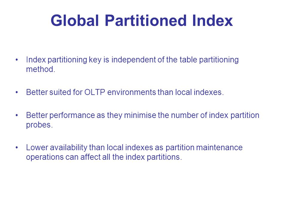 Global Partitioned Index