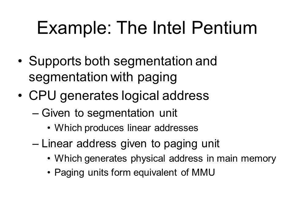 Example: The Intel Pentium