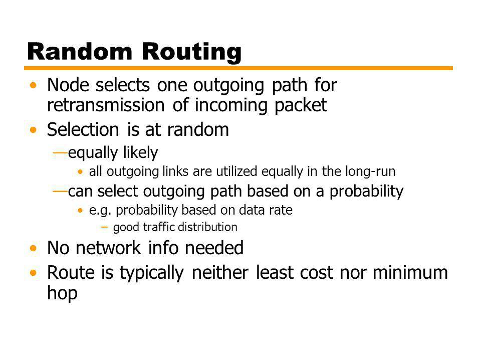 Random Routing Node selects one outgoing path for retransmission of incoming packet. Selection is at random.