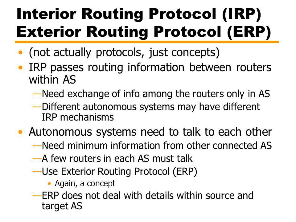 Interior Routing Protocol (IRP) Exterior Routing Protocol (ERP)