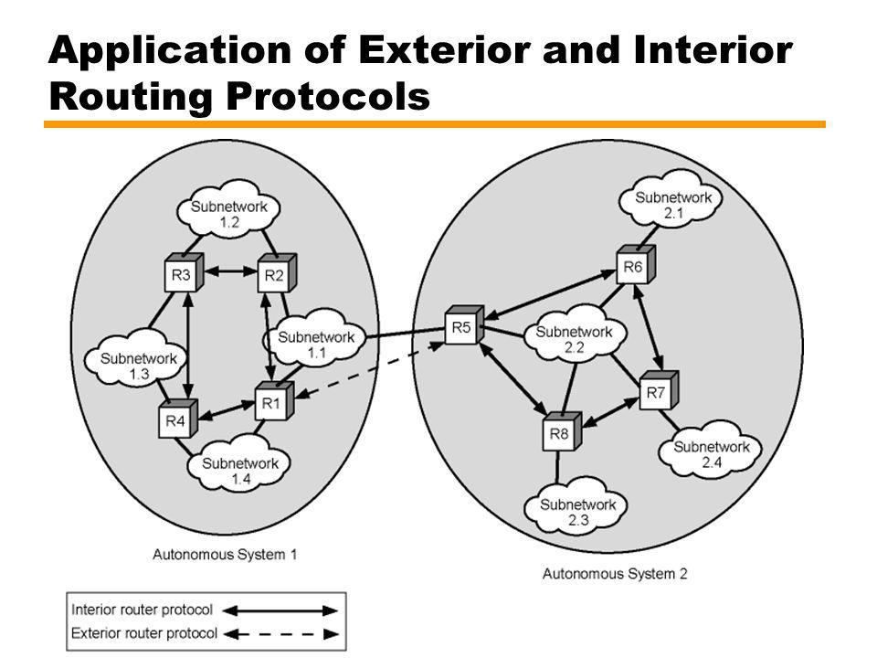 Application of Exterior and Interior Routing Protocols