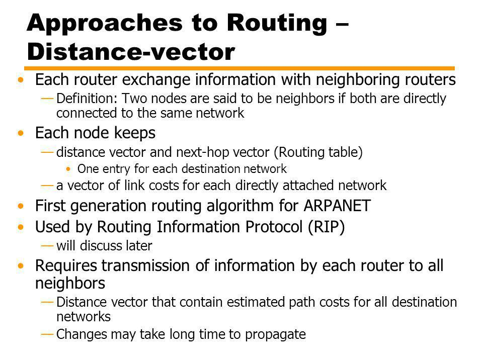 Approaches to Routing – Distance-vector