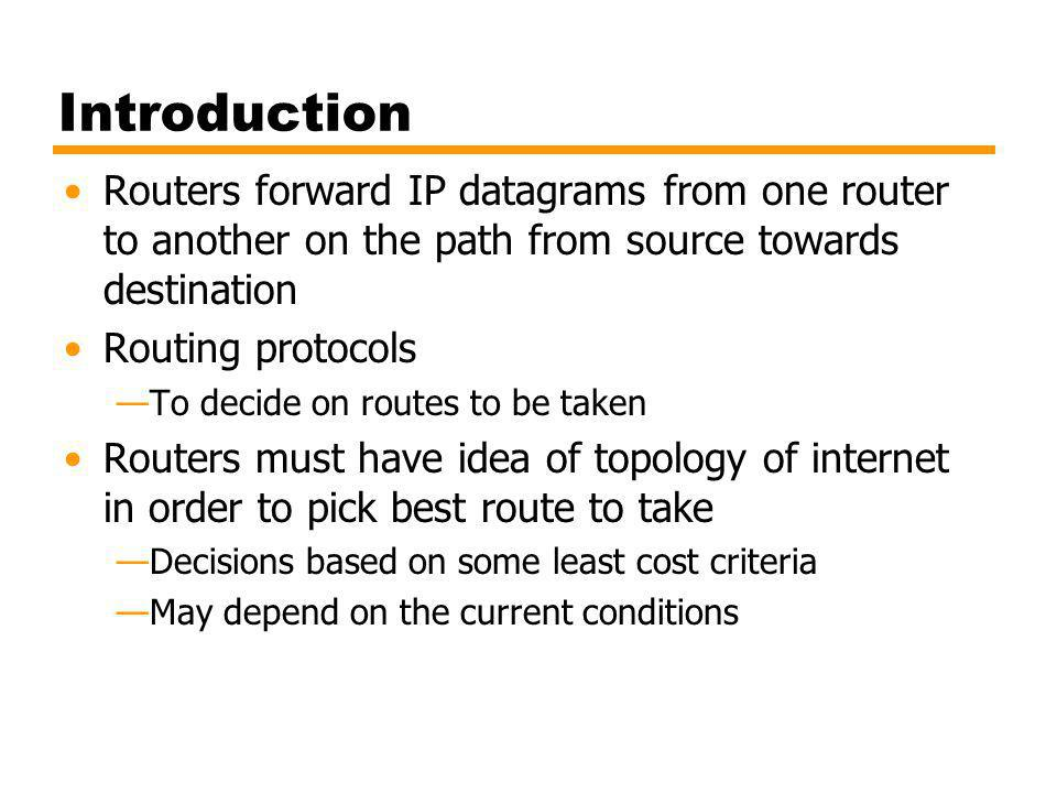Introduction Routers forward IP datagrams from one router to another on the path from source towards destination.