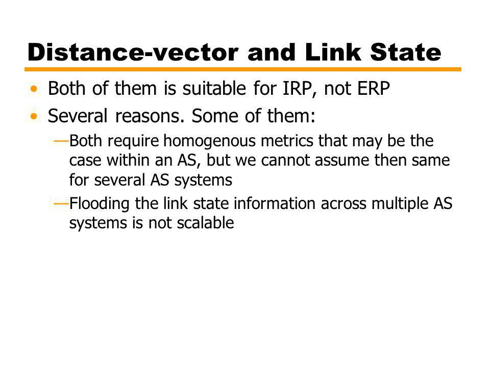 Distance-vector and Link State