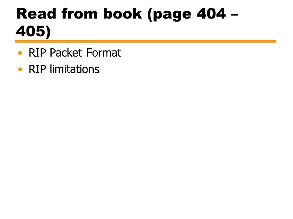 Read from book (page 404 – 405) RIP Packet Format RIP limitations