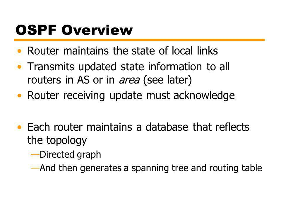 OSPF Overview Router maintains the state of local links
