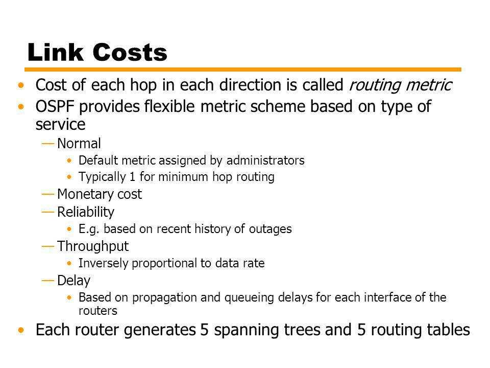 Link Costs Cost of each hop in each direction is called routing metric
