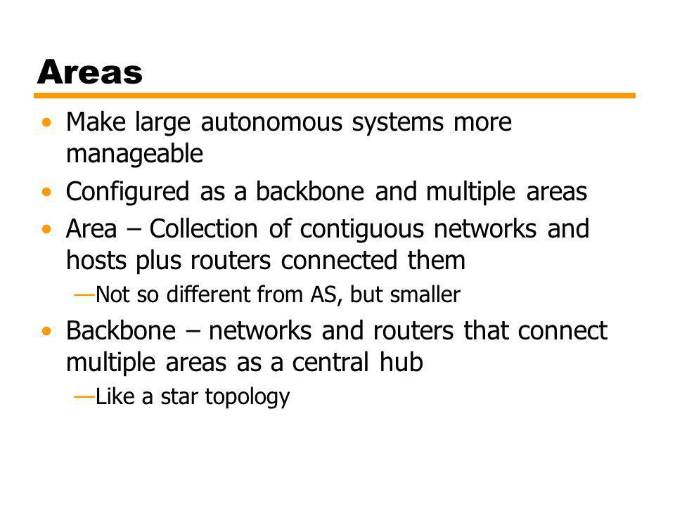Areas Make large autonomous systems more manageable