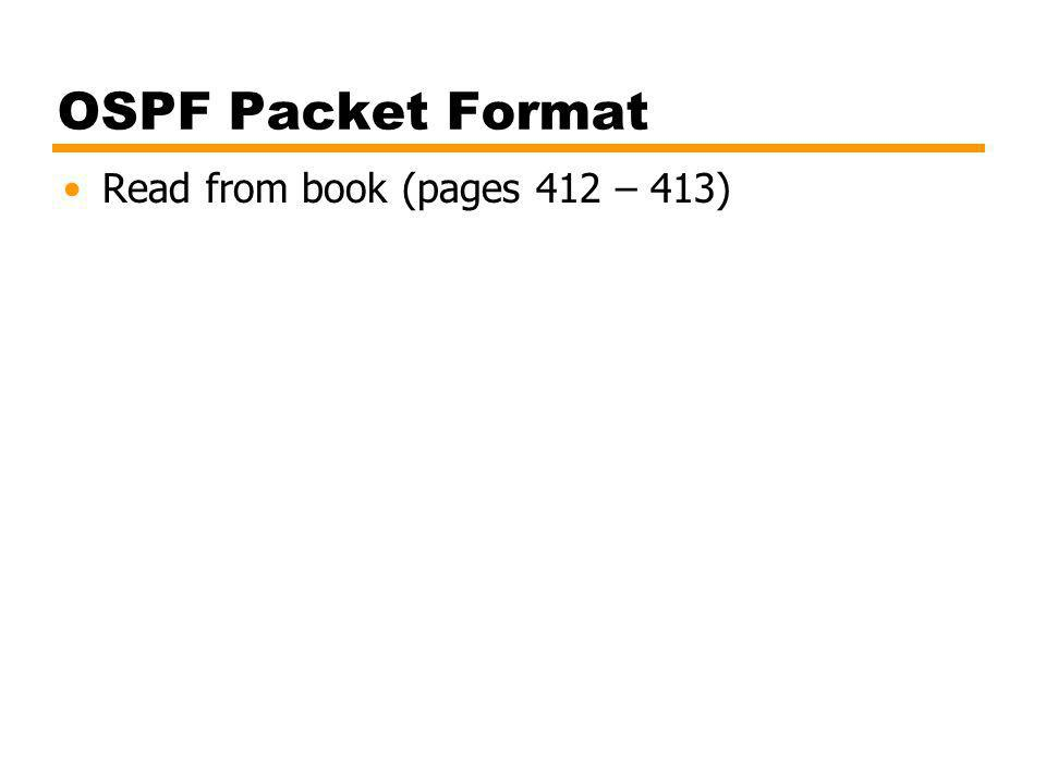 OSPF Packet Format Read from book (pages 412 – 413)
