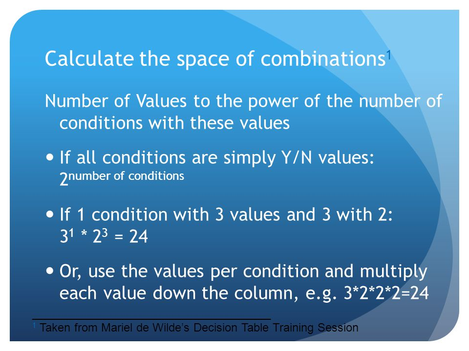 Calculate the space of combinations1
