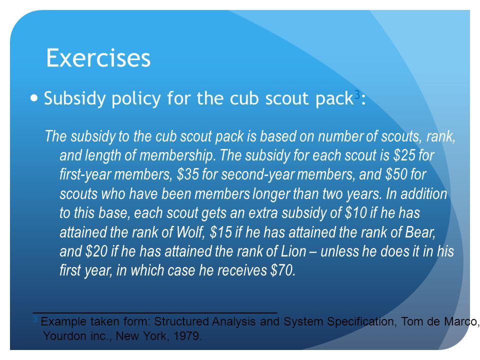 Exercises Subsidy policy for the cub scout pack3: