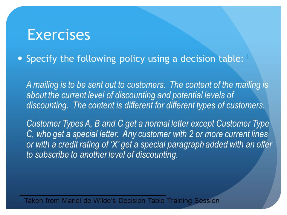 Exercises Specify the following policy using a decision table: 1