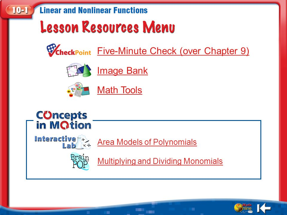 Five-Minute Check (over Chapter 9) Image Bank Math Tools