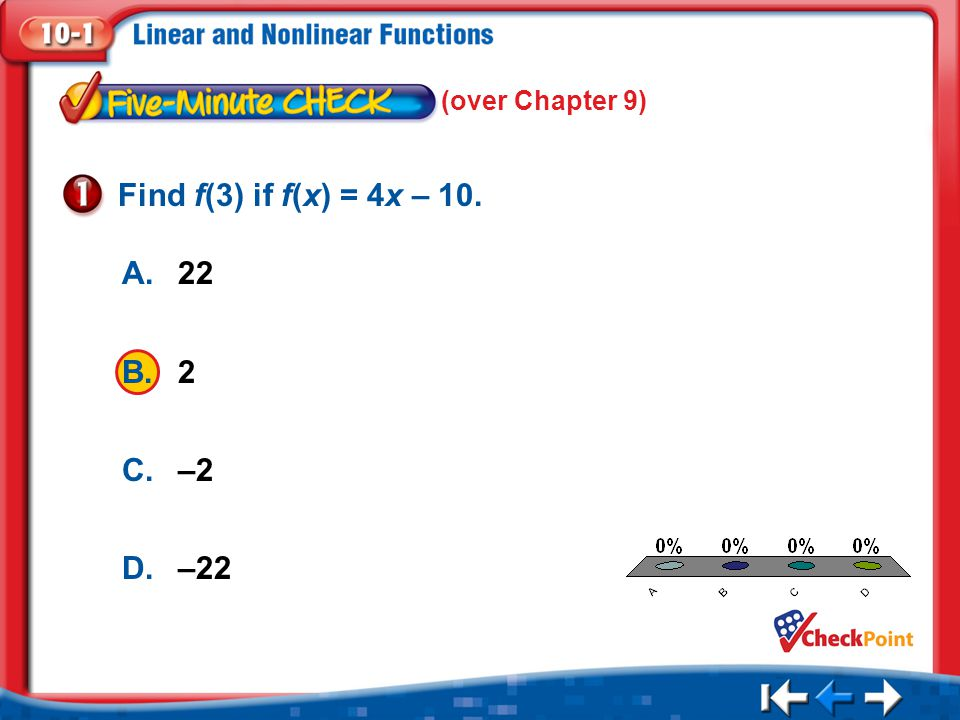 Find f(3) if f(x) = 4x – 10. A. 22 B. 2 C. –2 D. –22 (over Chapter 9)