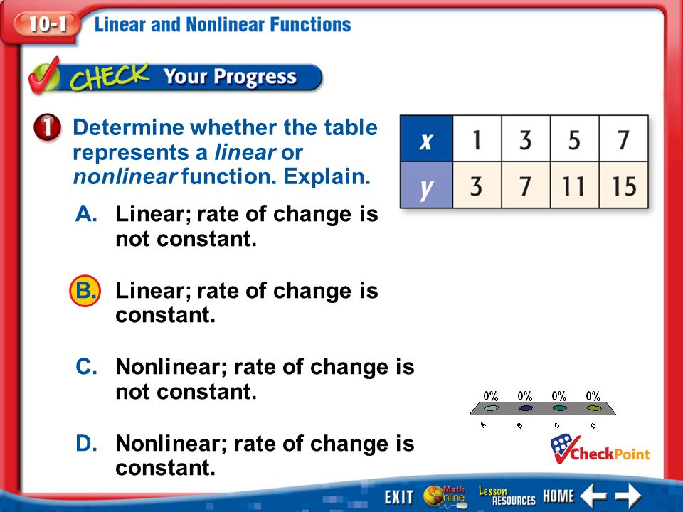 A. Linear; rate of change is not constant.