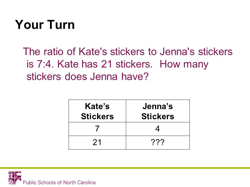 Your Turn The ratio of Kate s stickers to Jenna s stickers is 7:4. Kate has 21 stickers. How many stickers does Jenna have
