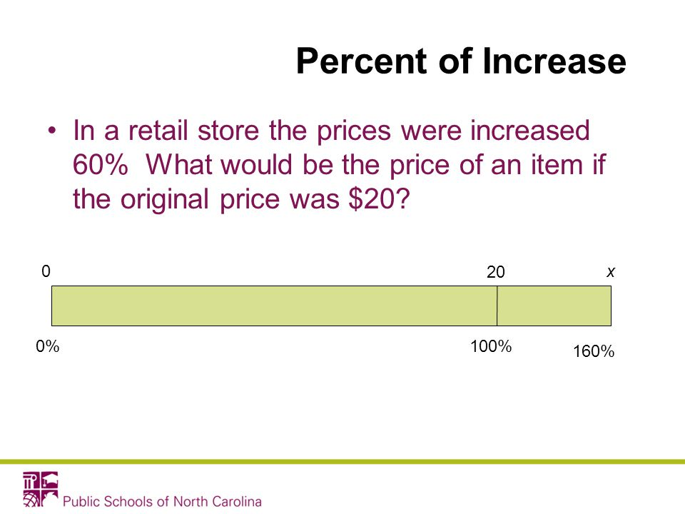 Percent of Increase In a retail store the prices were increased 60% What would be the price of an item if the original price was $20
