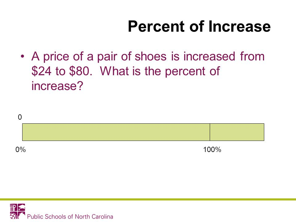 Percent of Increase A price of a pair of shoes is increased from $24 to $80. What is the percent of increase