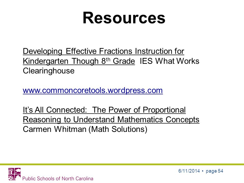 Resources Developing Effective Fractions Instruction for Kindergarten Though 8th Grade IES What Works Clearinghouse.