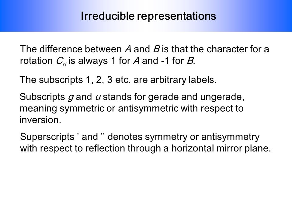 Irreducible representations