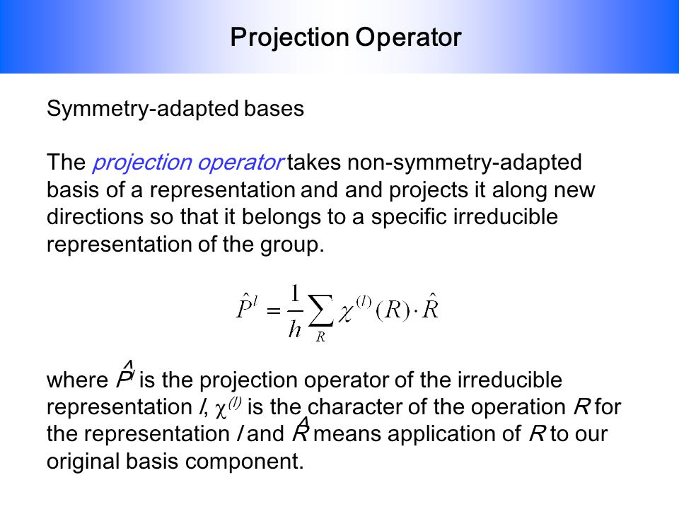 Projection Operator Symmetry-adapted bases