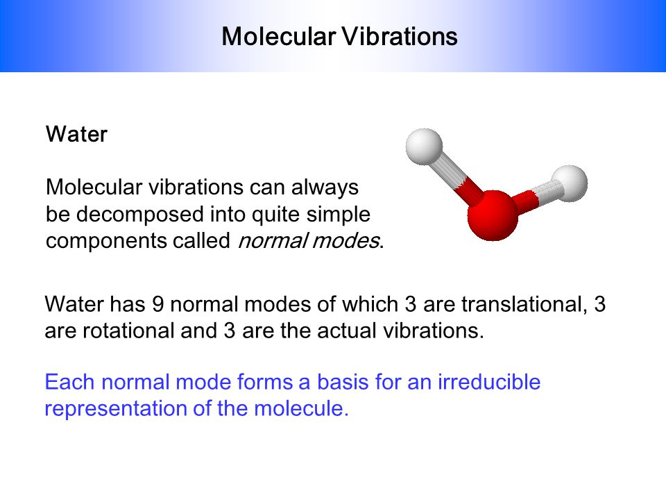Molecular Vibrations Water Molecular vibrations can always