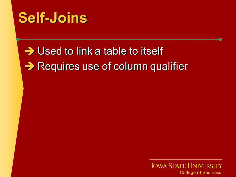 Self-Joins Used to link a table to itself