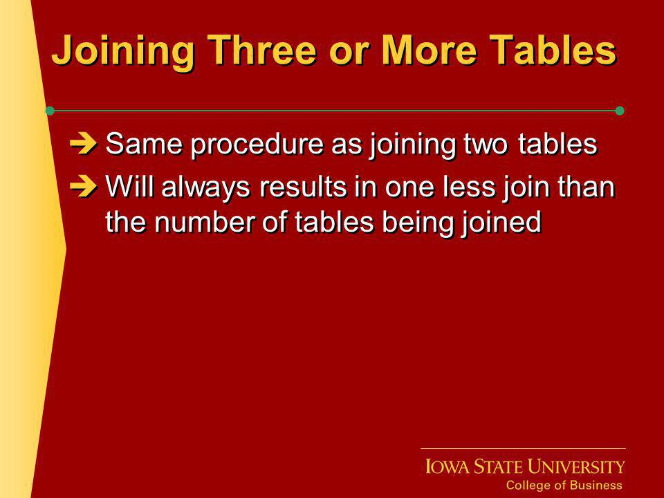 Joining Three or More Tables