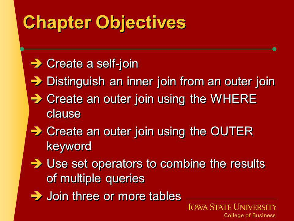 Chapter Objectives Create a self-join