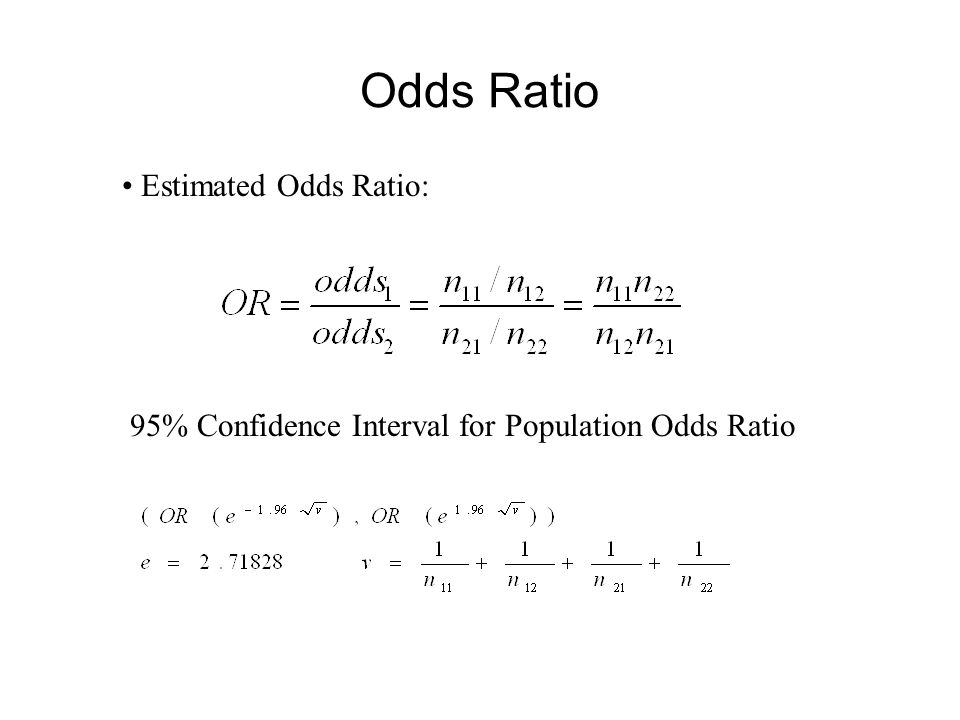 Odds Ratio Estimated Odds Ratio: