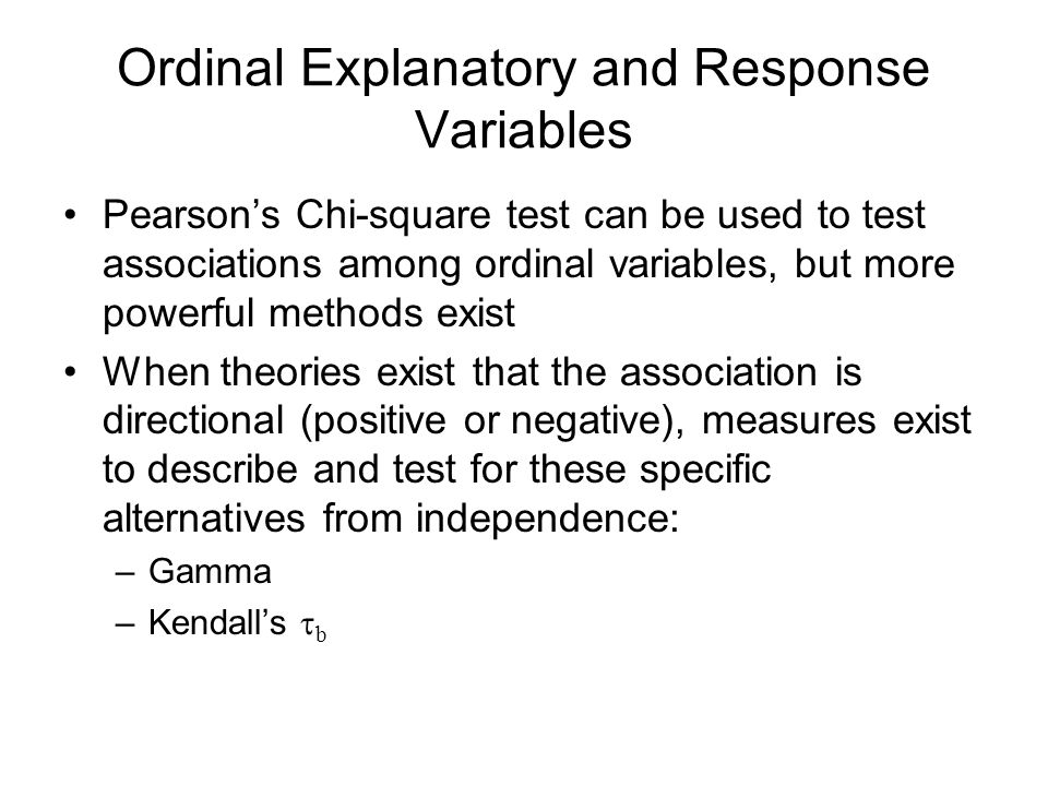 Ordinal Explanatory and Response Variables