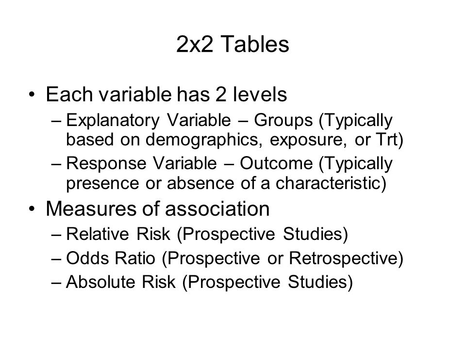2x2 Tables Each variable has 2 levels Measures of association