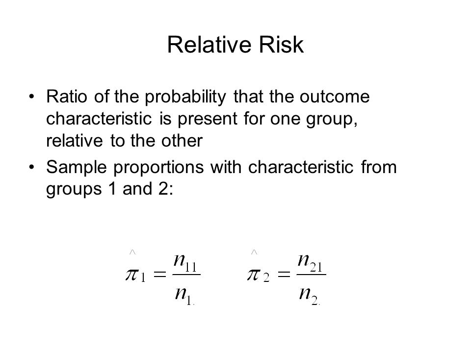 Relative Risk Ratio of the probability that the outcome characteristic is present for one group, relative to the other.