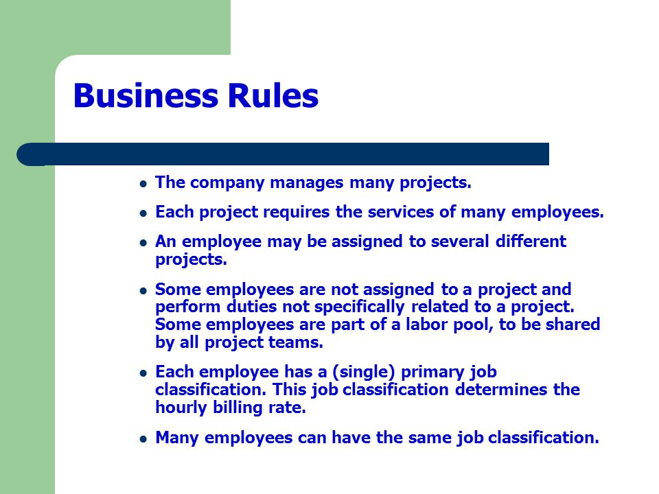 Business Rules The company manages many projects.