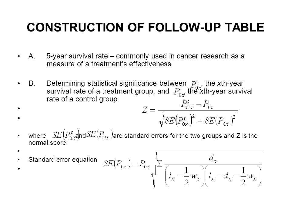 CONSTRUCTION OF FOLLOW-UP TABLE