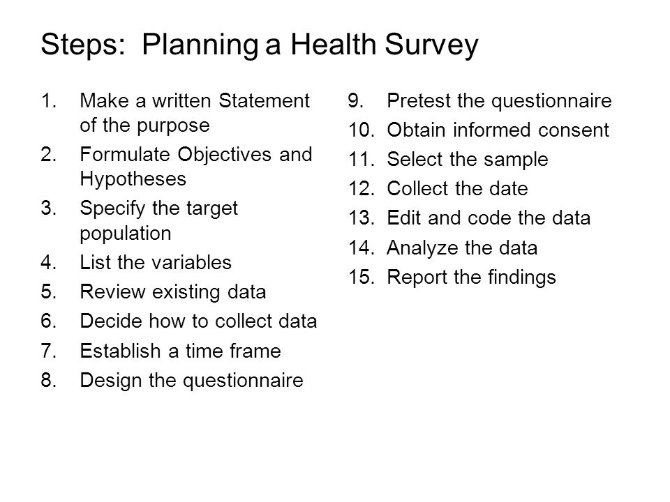 Steps: Planning a Health Survey