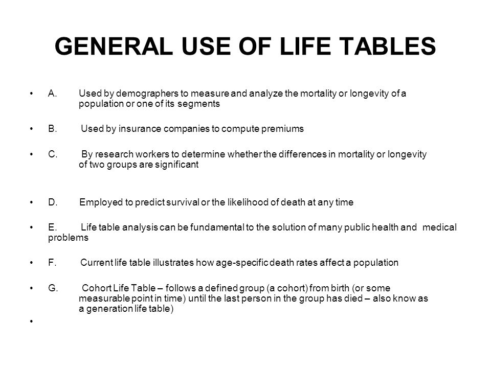 GENERAL USE OF LIFE TABLES