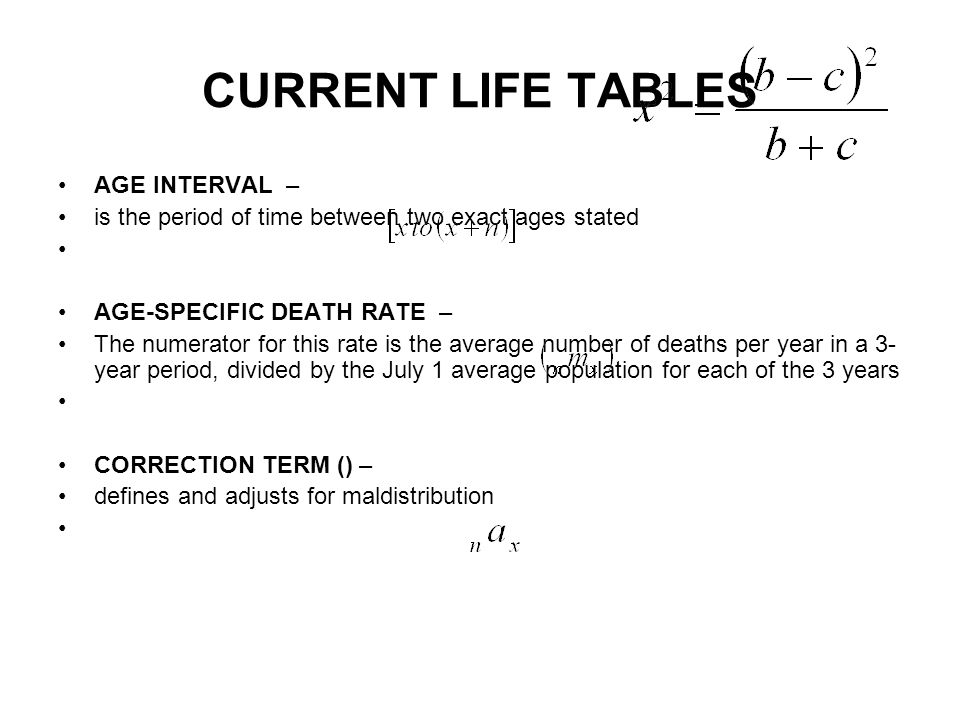 CURRENT LIFE TABLES AGE INTERVAL –