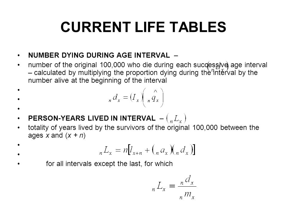 CURRENT LIFE TABLES NUMBER DYING DURING AGE INTERVAL –