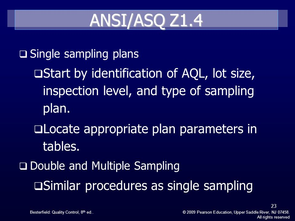 ANSI/ASQ Z1.4 Single sampling plans. Start by identification of AQL, lot size, inspection level, and type of sampling plan.