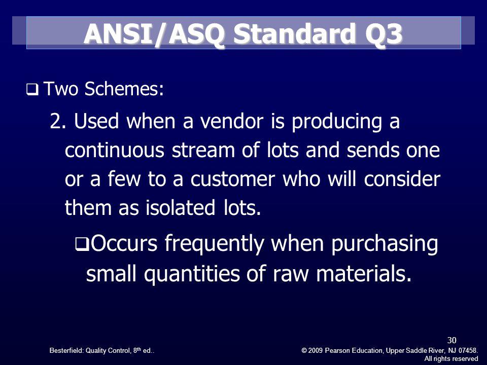 ANSI/ASQ Standard Q3 Two Schemes:
