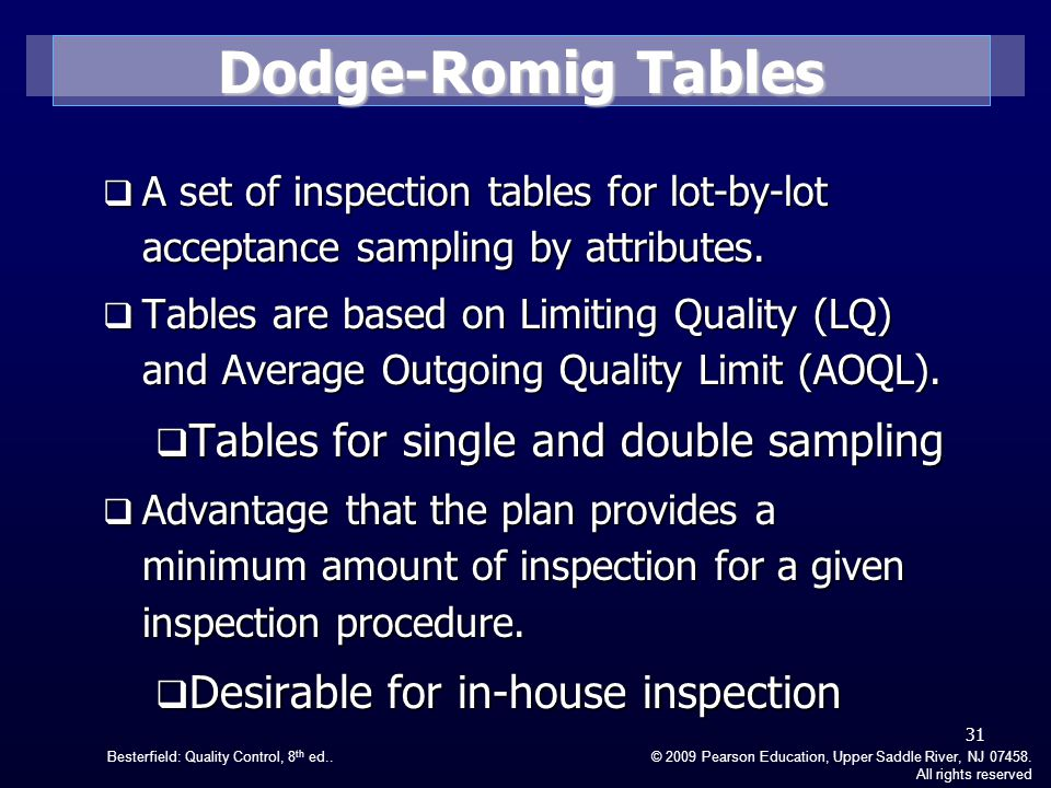 Dodge-Romig Tables Tables for single and double sampling