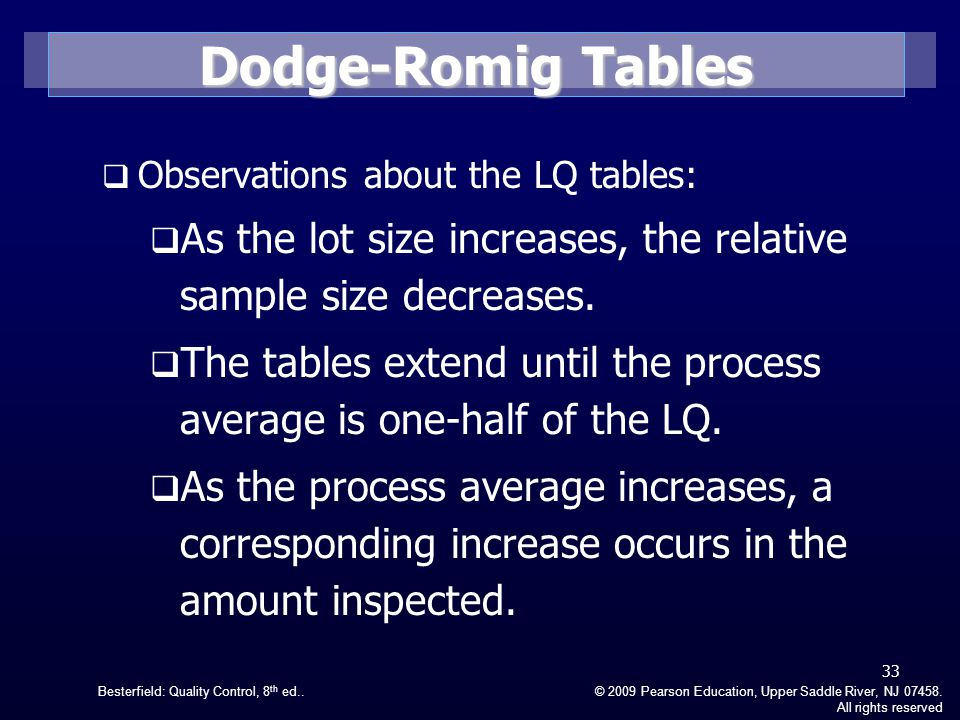 Dodge-Romig Tables Observations about the LQ tables: As the lot size increases, the relative sample size decreases.